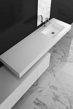 Cube, Unit tower 85 minimalist white washbasin by Makro