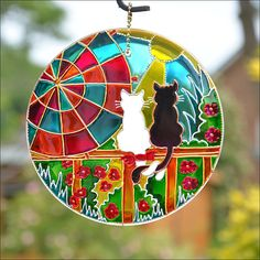 Colourful Painted Stained Glass Lanterns & Suncatchers by OrnatelyLanterns Glass Painting Designs, Paint Designs, Sun Catcher, Mandala, Arte Naturalista, Cat Lover Gifts, Cat Lovers, Cat Couple, Paint Drying