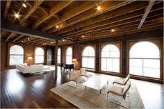 Lofts: I am in love with this space. The wooden floors, the exposed beams, the floor-to-ceiling windowns, the minimal furniture pieces.