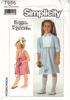 Simplicity 7986 Child's Pullover Dress Sewing Pattern 5-6X Uncut