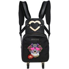 MANISH ARORA Skull Embellished Leather Backpack ($945) ❤ liked on Polyvore featuring bags, backpacks, purses, black, real leather backpack, leather rucksack, black studded backpack, daypacks and black leather backpack