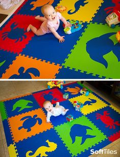 SoftTiles Sea Animals Foam Play Mat set with sloped borders. This mat covers an area of 6.5' x 6.5'- a perfect play mat for babies learning to crawl! Great for kids playrooms and kids decor!