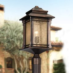 Hickory Point Rustic Outdoor Post Light Walnut Bronze Vintage 21 Frosted Cream Glass Lantern for Exterior Garden Yard - Franklin Iron Works Outdoor Hanging Lights, Outdoor Post Lights, Hanging Lanterns, Exterior Light Fixtures, Exterior Lighting, Craftsman Lighting, Solar Light Crafts, Solar Lights, Solar Led