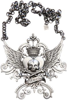 """Kitsch 'n' Kouture Winged Heart and Skull Gunmetal """"Rock Shield Necklace"""""""