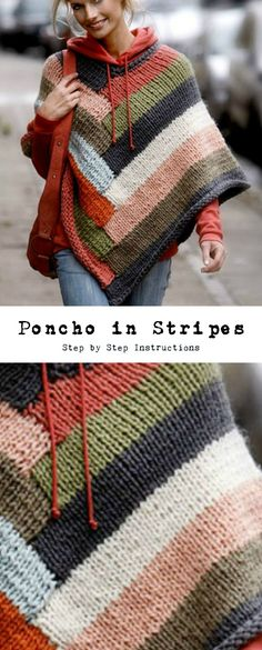 We think that poncho is one of the most warm and comfortable clothing, so in this frosty winter that what we need. We found for you great design of poncho and w Poncho Knitting Patterns, Shawl Patterns, Loom Knitting, Crochet Patterns, Free Knitting, Gilet Crochet, Knitted Poncho, Knit Or Crochet, Poncho Pullover