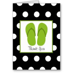 Shop Green Flip Flops / Black With White Polka Dots Thank You Card created by JillsPaperie. Thank You Greeting Cards, Thank You Greetings, Custom Thank You Cards, Beach Cards, Thank You Quotes, Paper Texture, Smudging, Card Ideas