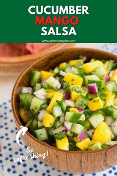 If we had to describe this salsa in one word, it would be refreshing. Even with the jalapeño, it's the kind of salsa that's good with spicy food because the mango and cucumber help balance the heat. Vegetarian Recipes, Cooking Recipes, Healthy Recipes, Delicious Recipes, Chili Recipes, Clean Recipes, Mango Salsa Recipes, Healthy Snacks, Healthy Eating