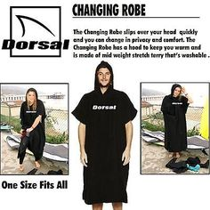 Other Surfing Accessories 71167: Dorsal Surf Changing Poncho Robe Towel - Black BUY IT NOW ONLY: $34.45