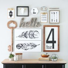 Learn how to create gorgeous wall display like this Black & White Gallery Wall easily with a few simple tips and tricks.