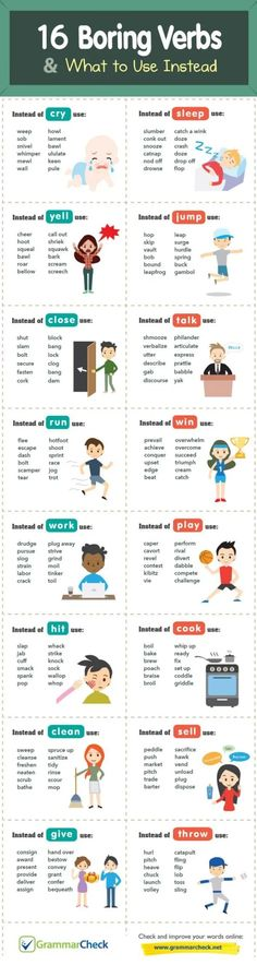 Writers Write is a comprehensive writing resource. In this infographic, we share 16 boring verbs and what to use instead. Book Writing Tips, English Writing Skills, Writing Words, Teaching Writing, English Lessons, Writing Test, English Vocabulary Words, English Phrases, Learn English Words
