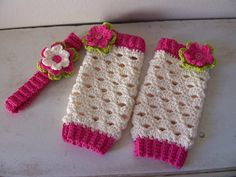 Crochet Leg Warmers & Matching Headband. I want these made for Brynnlie!