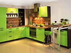 Lime Green Compact Kitchen