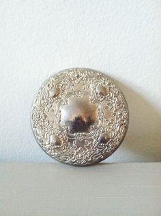 Vintage Art Deco Silver Mirror . Compact Pocket Mirror . Vanity Mirror on Etsy, $11.00
