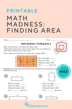 Help the basketball players determine how much area they have for their practice with this free printable worksheet. Finding Area, Free Printable Worksheets, Printables, High School History, Fourth Grade Math, Math Skills, Learning Centers, Education Quotes, Lesson Plans