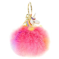 Rainbow Unicorn Pom Key Chain