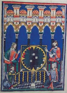 Thomas guild - medieval game of the Four Seasons called the World with four players using six-sided dice and four-color markers Medieval Games, Medieval Art, Medieval Manuscript, Illuminated Manuscript, Tarot, History Activities, Book Of Hours, Old Games, Bnf