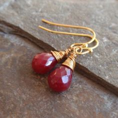Handmade Gold Plated Wire Wrapped Ruby Drop Stone Earrings For Pierced Ears | www.gwag.uk.com