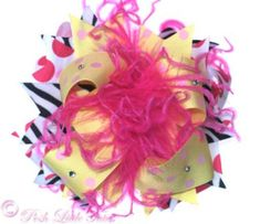 Zebra Dazzle Bright Yellow & Bling - Over-the-Top Hair Bow  thegirlybaby.com