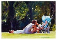 """Daily+Paintworks+-+""""Lazing+in+the+park.""""+-+Original+Fine+Art+for+Sale+-+©+Graham+Berry"""