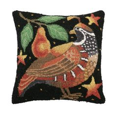 Found it at Wayfair - Holiday Partridge Hook Wool Throw Pillow