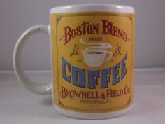 Boston Coffee Company Brownrll & Fileid Co Providence,RI Coffe Cup Mug