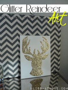 DIY Glitter Reindeer Art!! Do Three Christmas themed templates in three different colors for an instant Christmas Collection!
