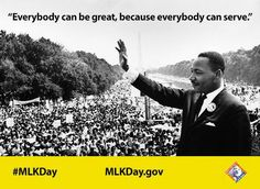 "HHS.gov on Twitter: ""Dr. King once said, ""Everyone can be great because everyone can serve."" This #MLKDay be great & #volunteer. @MLKDay https://t.co/t3OnjIHfWX"""