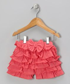 Take a look at this Dark Pink Ruffle Bow Organic Shorts - Infant, Toddler & Girls on zulily today!