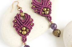 Micro macrame earrings with amethysts boho by DancingDakiniWear