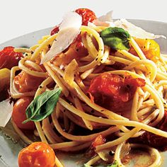 Pasta with Roasted Tomatoes and Garlic | MyRecipes.com  I made this in 30 minutes and it was so yummy.  A great summer pasta, very light with great flavor.