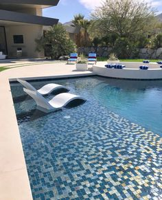 Pool filled now -Looking forward to a few final touches like firepit cushions, umbrellas and time to let things grow in. Outdoor Patios, Outdoor Decor, Santorini House, Sea Side, Construction Design, Looking Forward, Cool Pools, Pool Ideas, Minecraft