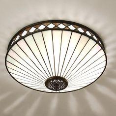 Interiors 1900 FARGO Tiffany Art Deco style flush ceiling light