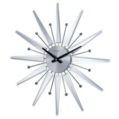 George Nelson Mirrored Starburst Crown 20 Inch Clock Control Brand Wall Mounted Clock Cloc