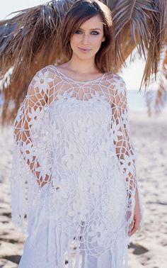 Poncho de ganchillo blanco hecho a la medida playa verano primavera elegante elegante hecha a mano de ganchillo