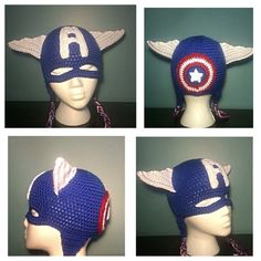 Crochet Captain America Hat with Mask by LoopedByLaws on Etsy Crochet  Captain America Hat ecd58f44cd2