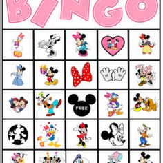 Minnie Mouse bingo @Chelsea Rose Vocana you needed this for karlee's bday but it would still be a fun game