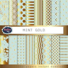 Gold Digital paper MINT and GOLD Metallic gold paper, Chevron, polka dots, Mint and gold Wedding invites, shiny gold effect, Blog background on Etsy, £0.93