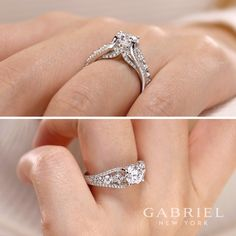 Gabriel NY - Preferred Fine Jewelry and Bridal Brand. 14k White Gold Round Straight Engagement Ring. The larger accent diamonds are nestled between two narrow strands of pave diamonds in the reverse tapered band of this intricate white gold engagement ring. Find your nearest retailer-> https://www.gabrielny.com/storelocator