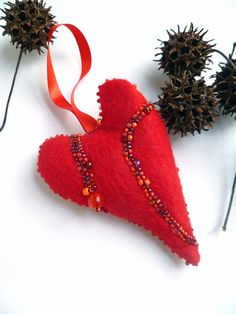 Red heart fiber art ornament by Cesart64 on Etsy