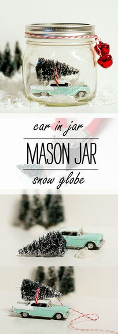 Christmas Craft Idea: Car In Jar Snow Globe = Car in Mason Jar - Mason Jar Craft Ideas for Christmas