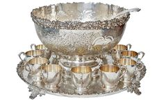 Silver punch bowl, tray & cup set by Barker Ellis