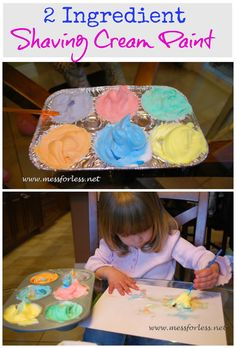 2 Ingredient Shaving Cream Paint - you won't believe how easy this stuff is to make. Such a fun way to paint!