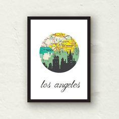 Los Angeles print -Urban Art -  LA cityscape - graphic 5x7 print