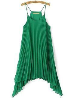 Green Spaghetti Strap Asymmetrical Pleated Dress