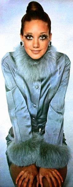 Marisa Berenson in a grey fur trimmed ensemble by Krizia, photo by Willy Rizzo, Arianna (Italy) December 1968