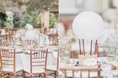 So inventive! Hot air balloon centerpieces made with paper lanterns and a burlap-wrapped base. Dreamy, Laid-Back Southern California Garden Wedding | Pink and Gold | Venue: Serendipity | Tin Photography