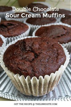 Sour Cream Double Chocolate Muffins The Links Site Simple Muffin Recipe, Muffin Tin Recipes, Sour Cream Muffins, Mini Muffins, Sweet Recipes, Cake Recipes, Dessert Recipes, Fudge Recipes, Casserole Recipes