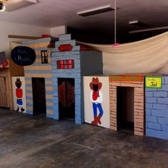 make a western town out of painted cardboard boxes!