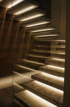 Stairway lighting Ideas with spectacular and moderniInteriors, Nautical stairway, Sky Loft Stair Lights, Outdoors Stair Lights, Contemporary Stair Lighting. Staircase Lighting Ideas, Stairway Lighting, Floating Staircase, Staircase Pictures, Concrete Staircase, Iron Staircase, Railing Ideas, Home Stairs Design, Interior Stairs