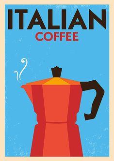 "Reproduction Vintage Italian Poster, ""Coffee"", Home Wall Art Vintage Italian Posters, Vintage Cafe, Vintage Travel Posters, Art Deco Posters, Poster Prints, Coffee Illustration, Manga Illustration, Retro Poster, Coffee Poster"